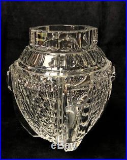 Vase D'époque Art Déco En Cristal De Baccarat A Pan Coupé 21,5 CM De Haut