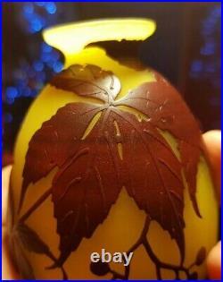 Vase D'époque Art Déco Muller Fres Luneville Degage A L'acide Decors groseilles