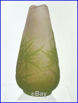 Vase De Gallé Authentique En Verre Multicouche Epoque Art Deco De 13 CM De Haut