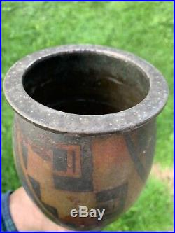 Vase Dinanderie Metal Argenté Cuivré Christofle Luc Lanel Art Deco Geometrie