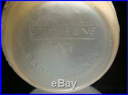 Vase ETALEUNE Art-Déco 1930 en Verre Pressé Moulé Patine Bleue