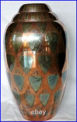 Vase Ecailles Luc Lanel Pour Christofle Dinanderie Art Deco