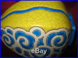 Vase Emaux LONGWY Craquelé, Polychrome Art Déco 20/30 M. P CHEVALIER rares couleur