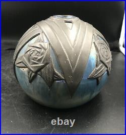 Vase En Gres De Rambervillers Art Deco Alphonse Cytere Serti Detain Rare Museal