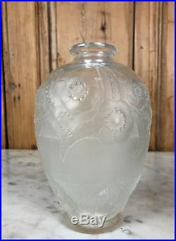 Vase En Verre D'époque Art Déco 1920 Signé Sabino France À Décor Floral