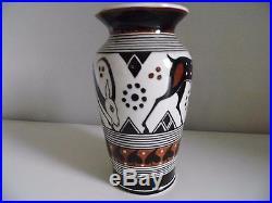 Vase Epoque Art-deco 1929 Faïence Très Rare Signe Et Numéroté Travail Grecque