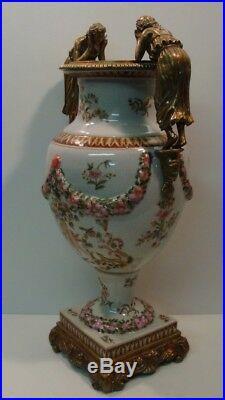 Vase Figurine Fleur Style Art Deco Style Art Nouveau Porcelaine Bronze Ceramique