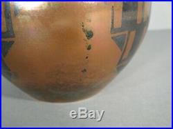 Vase Forme Boule Style Art Déco Dinanderie Cuivre Décor Géométrique Années 1930