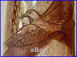 Vase Geant Oiseaux En Pate De Verre Legras Art Deco Grave A La Roue Cameo Glass