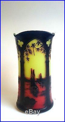 Vase J MICHEL Paris / vase ART DECO / PATE DE VERRE (no DAUM)
