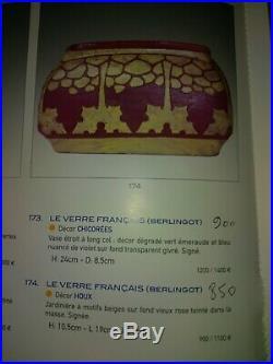 Vase Jardiniere Art Deco Schneider Le Verre Français Houx 1918-21 Berlingot