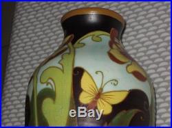Vase Keramis Charles Catteau Decor Papillon Fleur D 1848 Art Deco 27 CM