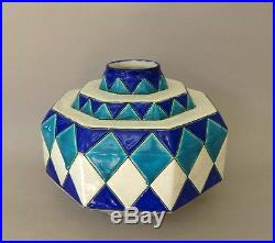 Vase Keramis, Charles Catteau, décor géomètrique Art Deco