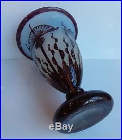 Vase Le Verre Francais En Pate De Verre Multicouche Epoque Art Deco