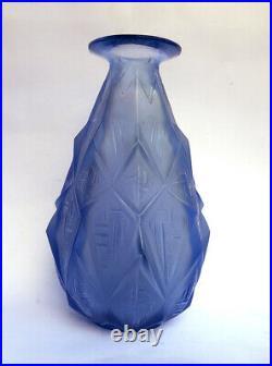 Vase Losange Sabino Art Deco Signé Bleu Opalescent