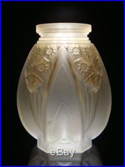 Vase MULLER FRÈRES LUNEVILLE Art-Déco 1930 en Verre Pressé Moulé Patiné sépia