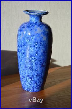 Vase Mougin Art Déco à Cristallisations style Sèvres Pierrefonds Denbac Cytère