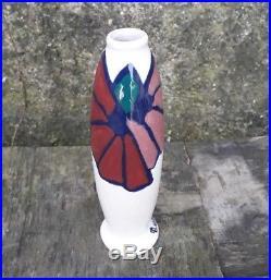 Vase Octave Larrieu céramique art déco Simone craquelé blanc satiné