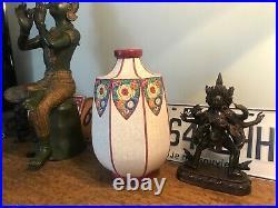 Vase Octogonal LONGWY Art Déco 1930's French Ceramic