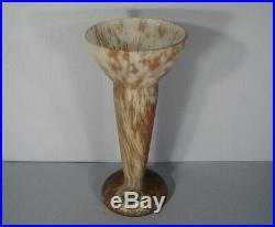 Vase Pte De Verre Art Déco Signé Lorrain / Vase Verre Marmoréen Daum Lorrain