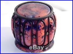 Vase Rare Signé A Delatte Nancy Magnifique 1920 /1930 Art-deco Monture Fer Forge