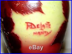 Vase Rare Signé A Delatte Nancy Magnifique 1920 /1930 Art-deco Pte De Verre