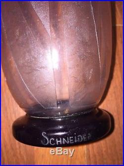 Vase SCHNEIDER décors art déco (hauteur 29cm) Le verre français