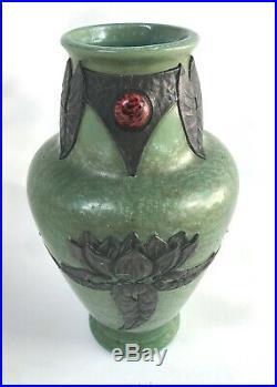 Vase Sarreguemines Rehausse D'etain Art Nouveau Art Deco Antique