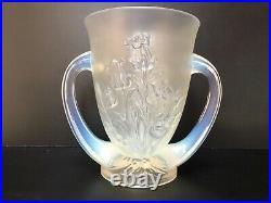 Vase Verlys Opalescent Decor Floral Deux Anses 1930 Art Deco Cb18