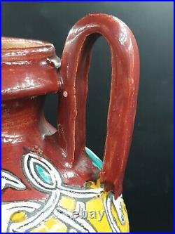 Vase ancien Nabeul Ben Sedrine EL Kharraz art deco nouveau ceramique tunisien