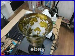 Vase ancien art deco a l'acide H 30.5 cm