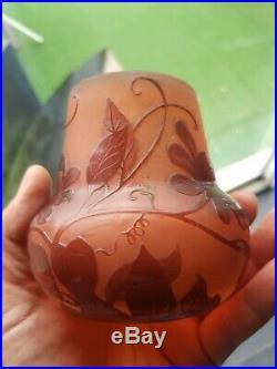 Vase art deco A. Delatte Nancy Pate De Verre Degage A L Acide galle daum