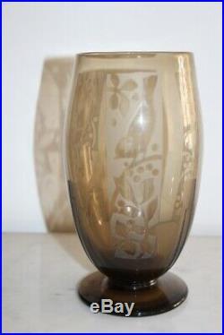 Vase art deco degagé a l'acide signé muller freres luneville