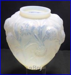 Vase art déco opalescent les oursins Sabino
