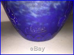 Vase art déco signé CHARDER, myrtilles de 17cm-le Verre Français