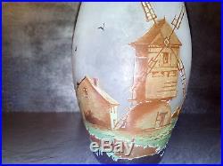 Vase art deco signé thouvenin dégagé acide pate de verre era Gallé muller 1900