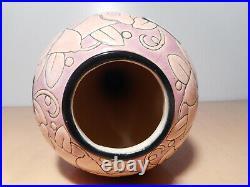 Vase art déco soliflore faience est émail émaux d'art Longwy France