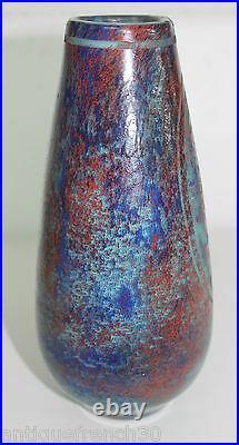 Vase art nouveau déco verre dégagé à l'acide paon