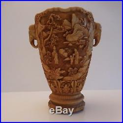 Vase asiatique indien résine vintage art-déco antiquité