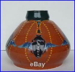 Vase aux scarabées Art Déco Art Nouveau Montières Amiens daté 1917