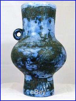 Vase bleu en céramique de Jacques BLIN