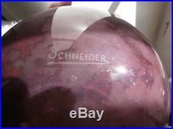 Vase boule Schneider pate de verre art déco couleur améthyste