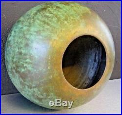 Vase boule art déco dinanderie patine verte, Dunand, desny, linossier, despres