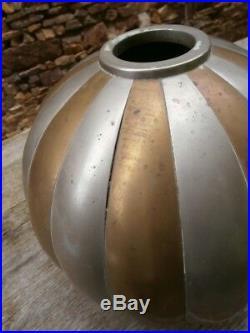 Vase boule art déco laiton nickelé dinanderie Dunand Desny Claudius Linossier