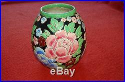 Vase céramique Keramis Frères Boch Belgique Catteau fleurs Art Déco XXème