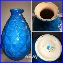 Vase céramique bleue Art déco BOCH la Louvière