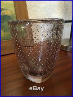 Vase cristal violet Murano, fines bulles contrôlées Circa 1940, Art Deco