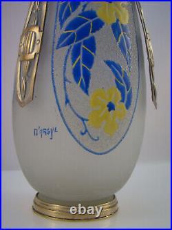 Vase d'Argyl Art déco verre émaillé Vase 1930s enameled flowers