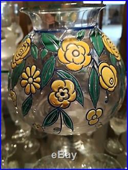 Vase émaillé de fleurs Baccarat signé G. Chevalier art déco