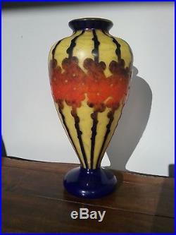 Vase en Pâte de Verre multicouche Le verre Français glass cameo art deco 45 cm